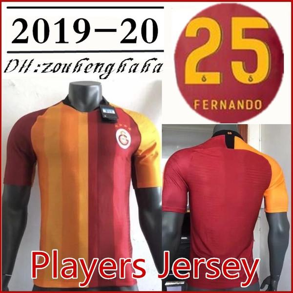 19 20 Galatasara HOME Jogador Jersey 2019 2020 Jogador versão maillots FERNANDO GOMIS CIGERCI BELHANDA FEGHOULI FUTEBOL Camisas de futebol