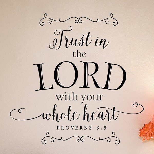 Trust in the Lord with your whole heart wall decal Scripture Wall Quote Christian Wall Decor Scripture home decor stickers