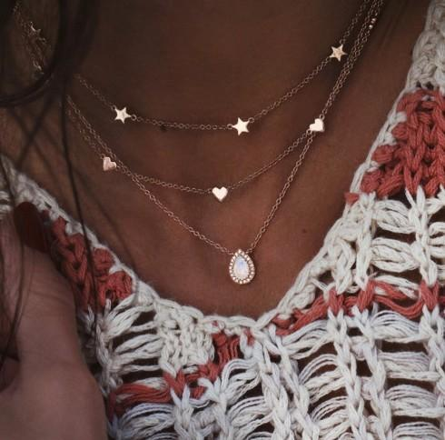 jewelry necklaces 3 layered star peach heart waterdrop pendant chokers necklaces gold filled great idea for womens/girls