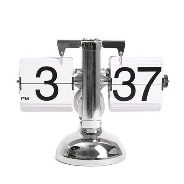 Creative auto digital quartz flip page turning small scale table clock desk mechanism calendar for home decoration black/white