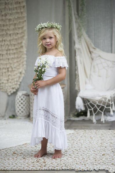 2020 화이트 비치 보헤미안 웨딩 꽃 소녀 드레스 오프 숄더 반팔 보헤미안 영성체 드레스 새로운