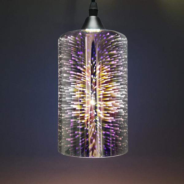 Lampada a sospensione in vetro creativo Galvanotecnica 3D Fuochi d'artificio Lampada a sospensione Paralume in metallo cromato E27 Supporto Lampada a sospensione Illuminazione decorazione