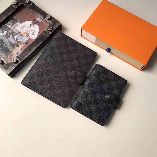 Notebook Designer carteira homens bolsas de couro carteiras portátil Mini titular do cartão designer de bolsa Banco Cartão Portfolio com caixa
