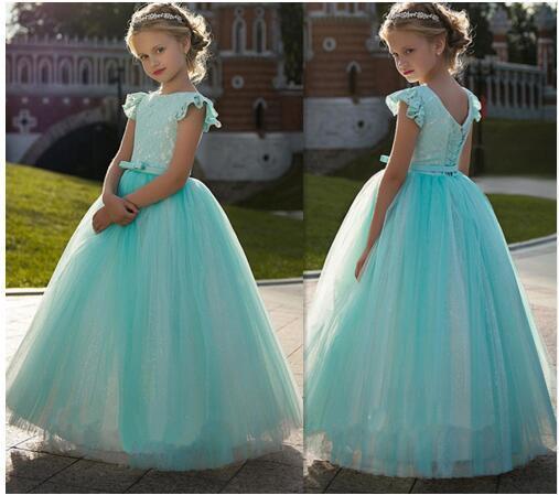 Vestido de princesa do vintage com rendas melhor vestido da menina de flor para festa de crianças lace up voltar pageant vestidos para cute girl robe de soirée