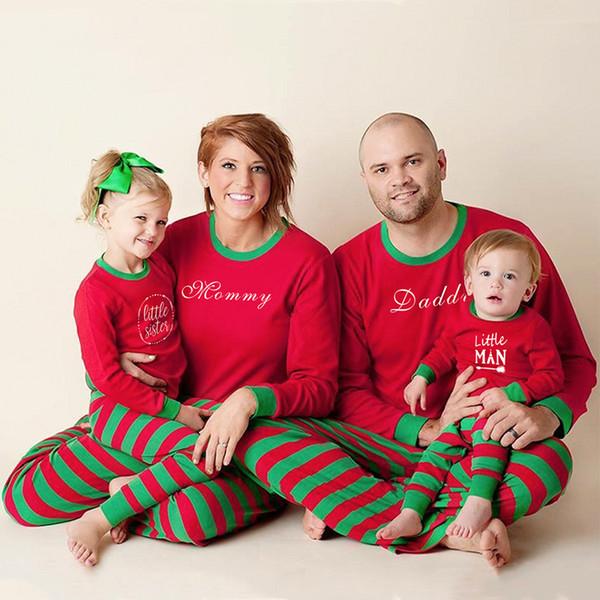 Pigiama natalizio abbinato alla famiglia Madre Figlia Padre Figlio Manica lunga Bambini Pjs Famiglia Look Fratello sorella Vestiti
