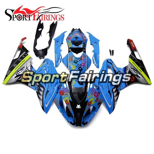 Blue Colorful Hands Shark Attack Cover For BMW S1000RR 2015 2016 ABS Injection Plastic Pieces 15 16 Bike Cover Fairing Kit Sportbike Panels