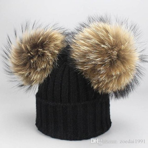 Double 15cm real Fur Pompom Winter Hats For Kids Cotton knitted Boys Girls Caps Children Pom pom Hat Skullies beanies