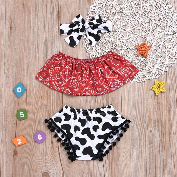 New hot fashion trend kids summer clothes cow printing headband and diaper black trims with off shoulder top retro baby clothing