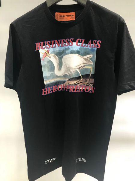 Heron Preston Kırmızı Taçlandırılmıştır Vinç T Gömlek Çevreci Business Class Nakış Erkek Tasarımcı T Shirt Heron Preston T Gömlek Tee