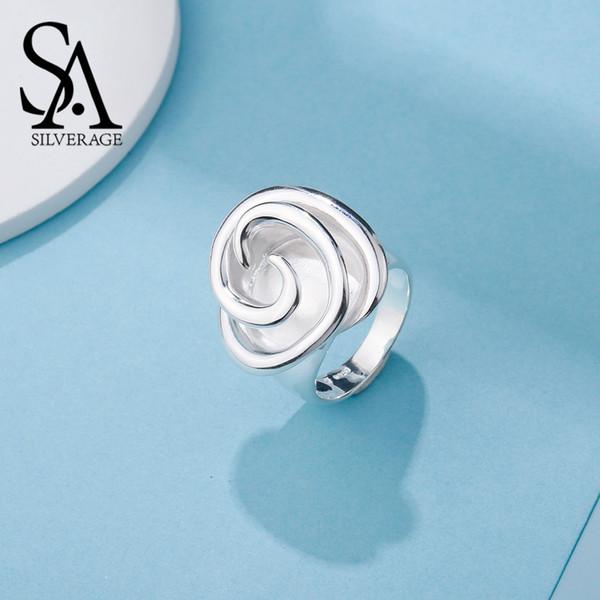 SA argento 925 anelli di nozze Sterling Silver Rose per le donne Fine Jewelry 925 anelli d'argento di grande fiore Banda Anel Anelli