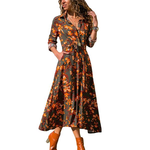 Compre 2019 Primavera Verano Vestido Largo Mujer Estampado Floral Maxi Vestidos Largos Bolsillo Casual Camisa Con Botones Vestido De Camisa De Botón