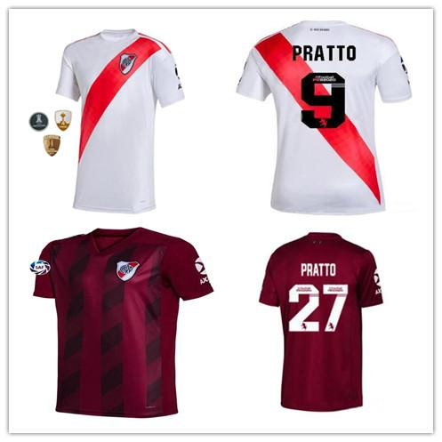 New River Plate Fußball Trikots 2019 2020 nach Hause weiß rot G.MARTINEZ Fernández Martínez PRATTO QUINTERO MARTINEZ anpassen Fußball Trikots