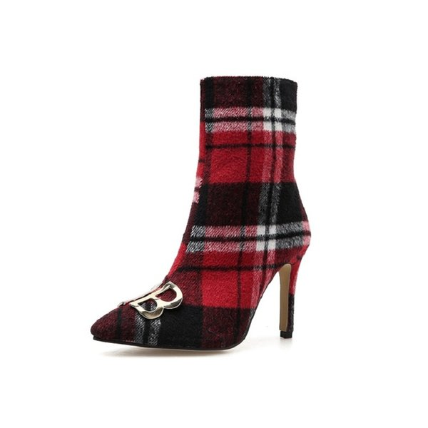 2018 autumn and winter new high-heeled boots wild plaid stiletto in the tube women's boots red 0105