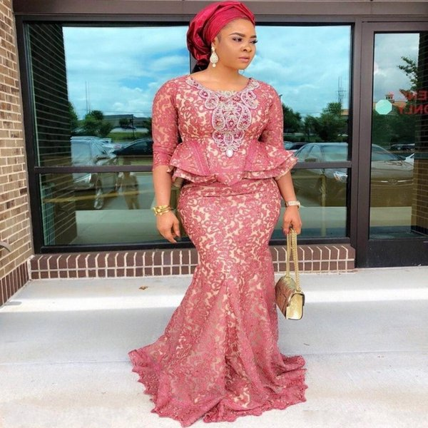 African Plus Size Evening Dresses With 3/4 Long Sleeves Jewel Peplum  Mermaid Prom Dress Beads Appliques Mother Of The Birde Gowns Cruise Evening  ...