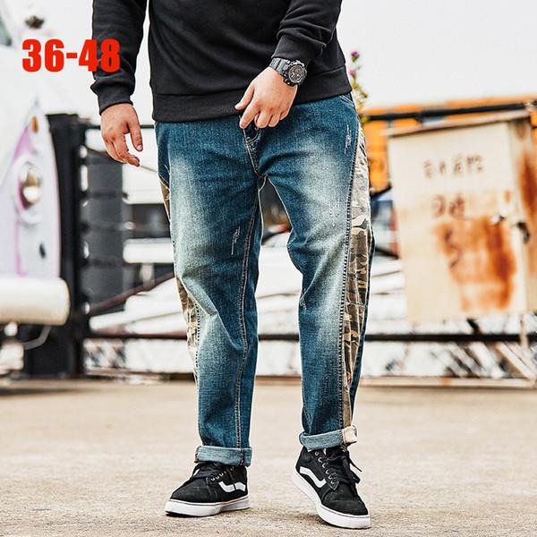 Spring New Stretch Jeans Men 36-48 Plus size Men denim jeans pants Hip hop Loose Straight Blue print Jean for 80kg-140kg big