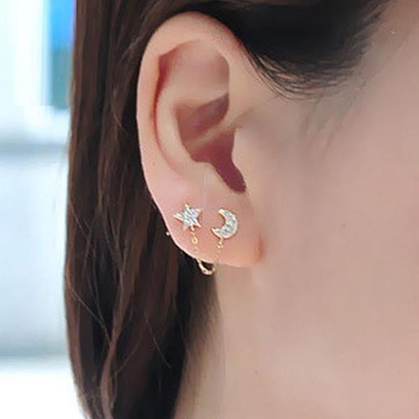 Moon Stars Rhinestone Trendy Zinc Alloy Mujeres Pendientes Brincos 1 Dos Piercing Ear Cuff Ring Cadena Pendiente doble