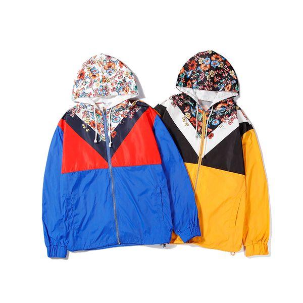 19 Designer Brand Zipper Hoodie Uomo Donna Giacche Blu Giallo Patchwork Stampa floreale Outwear Giacca a vento Giacca casual Alta qualità B100247V