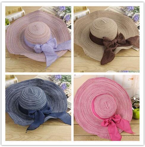 Women Colorful Big Brim Straw Hat Sun Floppy Wide Brim Hats New Bowknot Folding Beach Cap hat women Summer 2019