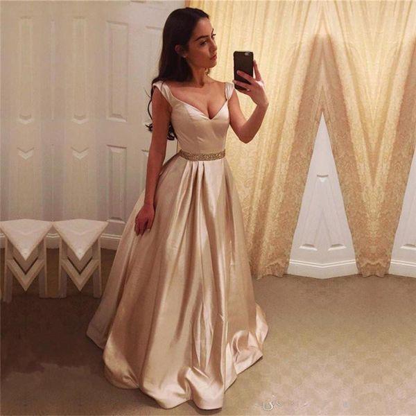 Elegant Evening Dresses Vestidos Largos De Noche 2019 V Neck A Line Satin Long Prom Dresses with Cap Sleeves