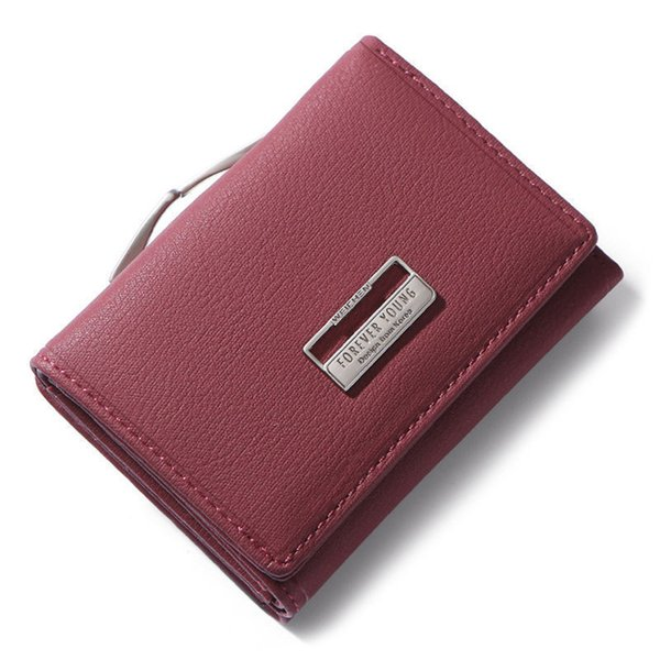 good quality Fashion Trifold Ladies Wallets With Clip Coin Pocket Card Holder Brand Small Wallet Women High Quality Female Purse