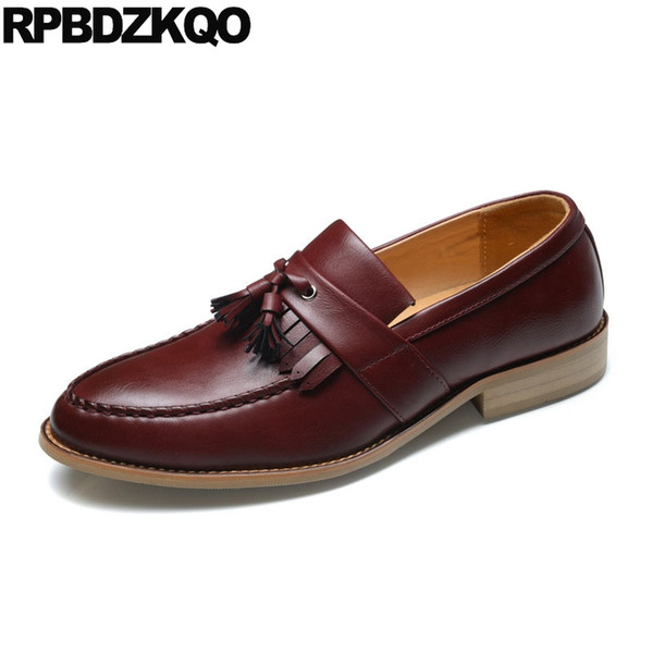 2018 shoes buy best really cheap Loafers Formal British Style Slip On 2019 Solid Burgundy Brown Men ...