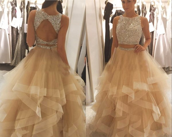 Two Piece Champagne Tulle Prom Dresses Long Backless Bling Silver Beading Crystal Tiered A Line Pageant Dresses Party Formal Gown
