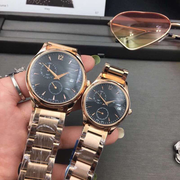 Lovers' Top brand men women watches rose gold luxury Full Stainless Steel band all dials work wrist watch for ladies mens Valentine Gift