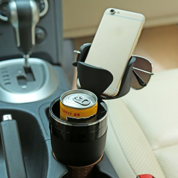 best selling Multifunction Car Drinking Bottle Holder Rotatable Water Cup Holder Sunglasses Phone Organizer Storage Car Interior Accessories