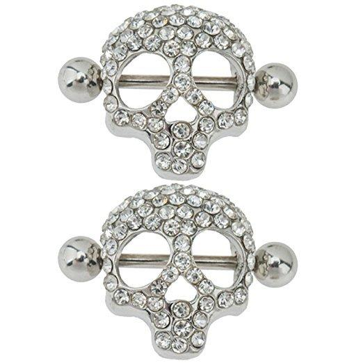 Retro Crystal Skull Head nipple Ring Women Body Jewelry Party Belly Button ring