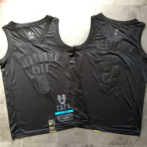 Высокое качество Thunders 2020 Рассел Вестбрук MVP Black Edition Аутентичные Джерси Mnes 23 Джеймс 30 Карри 13 Harden Black MVP Баскетбол Джерси