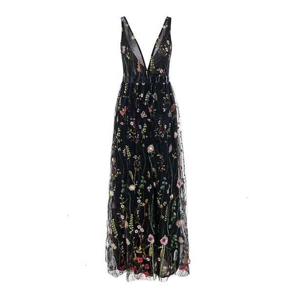 Ladies Dresses Women Designer Clothes Mesh Vintage Floral Embroidery Women Backless Bohemian Dresses Sexy V Neck Elegant Wrap Long Dress