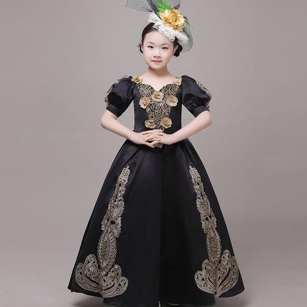 18th Century Black Children Marie Antoinette Dress Gold Appliques Evening Christmas kids Gowns Dance Costumes