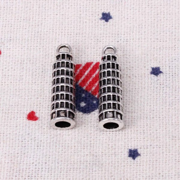100pcs Charms leaning tower of pisa italy 25*7mm Pendant,Tibetan Silver Pendant,For DIY Necklace & Bracelets Jewelry Accessories