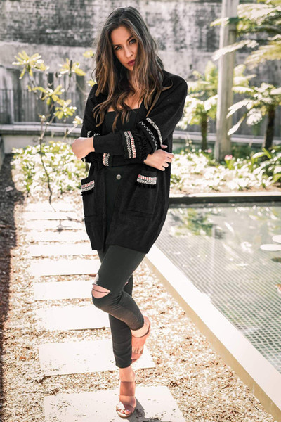 2019 latest hot women's argyle fashion plush coat solid color thick long-sleeved travel sweater casual jacket ladies punk trend top capa