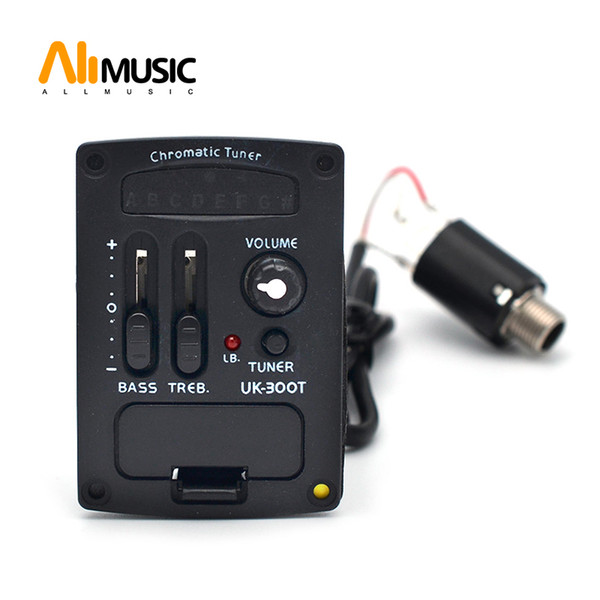 best selling 2 Band LED Ukulele guitar Chromatic Tuner Ukulele UK Soft Piezo Pickup EQ Equalizer UK-300T
