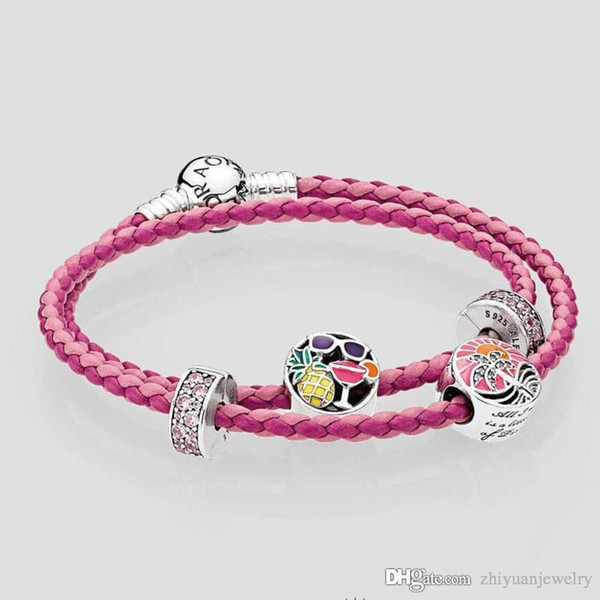45e9d809c mixed pink woven braided double leather summer fun tropical sunset charm  bracelets genuine leather wrap bracelet