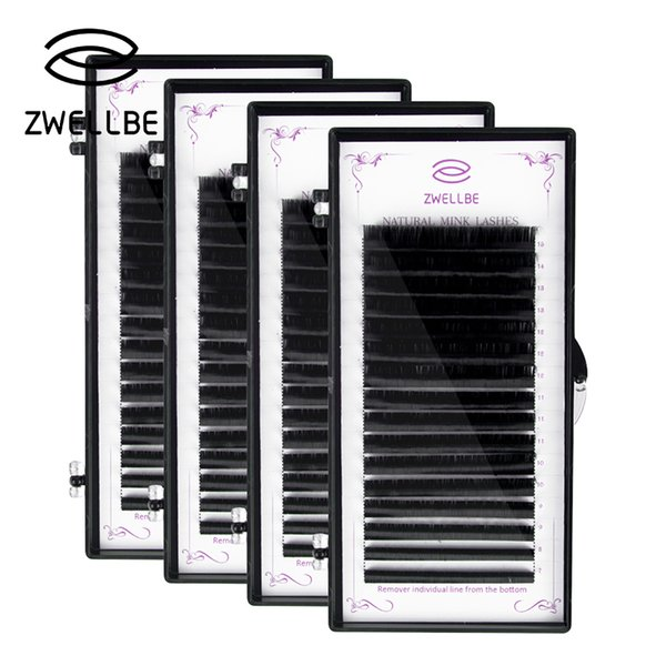 Zwellbe 16rows/Case/Set 7~15mm Mix In One Tray Natural Synthetic Mink Individual Eyelash Extension Makeup Cilia Professional Use