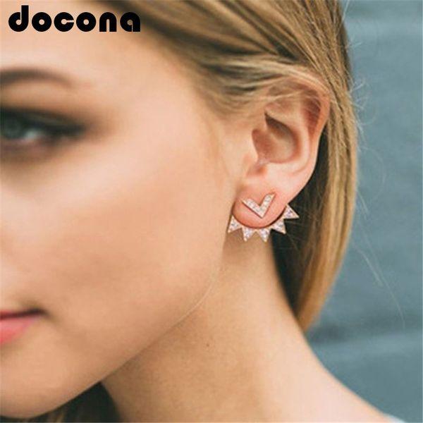 docona Trendy CZ Curved Geometric earrings Ear Jacket for Women Elegant Front Back Two Sides Earrings fashion Jewelry 5247