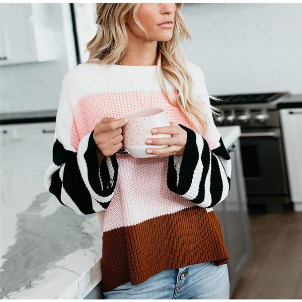 Повседневный свитер Женская осень-зима одежда 2019 O-образным вырезом с длинным рукавом в полоску Свитера Свободный вязаный пуловер розовый