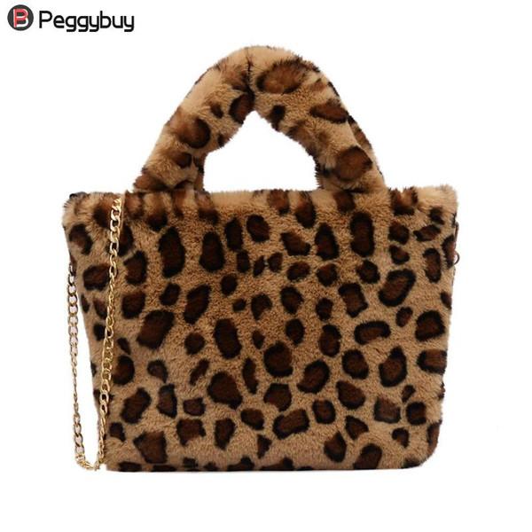 Simples Casual Faux Fur Leopard Imprimir Ombro Messenger Bags Mulheres Hot Totes De Pelúcia Cadeia Crossbody Satchel Bolsas