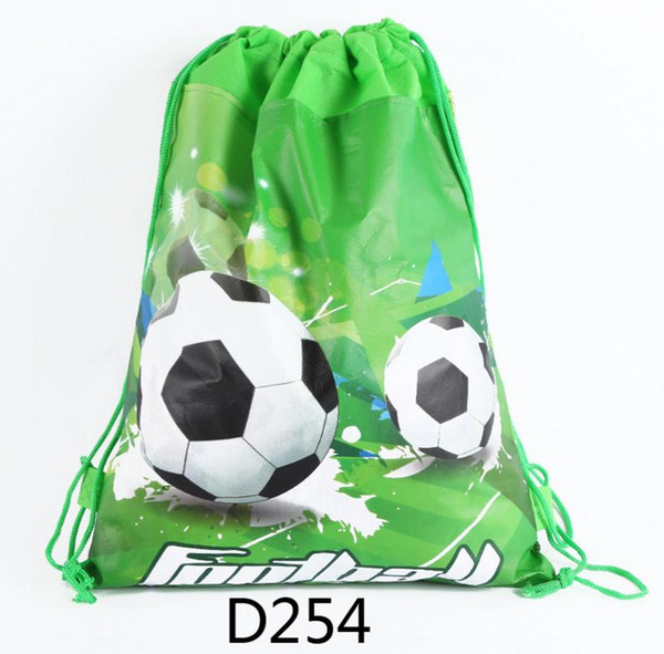 34*27cm 120pcs DHL Green Football Bundle Pocket Double-sided Non-woven Football Printing Drawstring Bag Sports Storage handbag Children Gift
