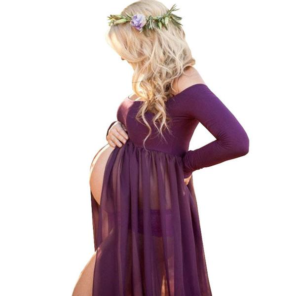 Vestido de embarazo Accesorios de fotografía Sesión fotográfica Vestidos largos Vestido de maternidad para mujeres embarazadas Premama Vestido Q190521