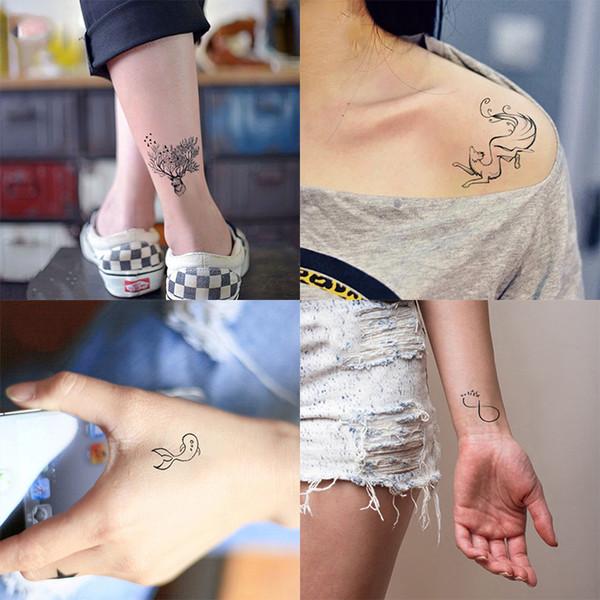 dc4f637a111d9 1 pcs Temporary Tattoo Sticker Shoulder Women Minimalist lines pattern Body  Art New Design Fake Men Tattoos Small