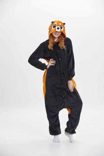 Hooded Cartoon Raccoon Pajamas for Adults Long Sleeves Unisex Home Wear Mascot Costumes Sleep Wear Night Party Wear Warm