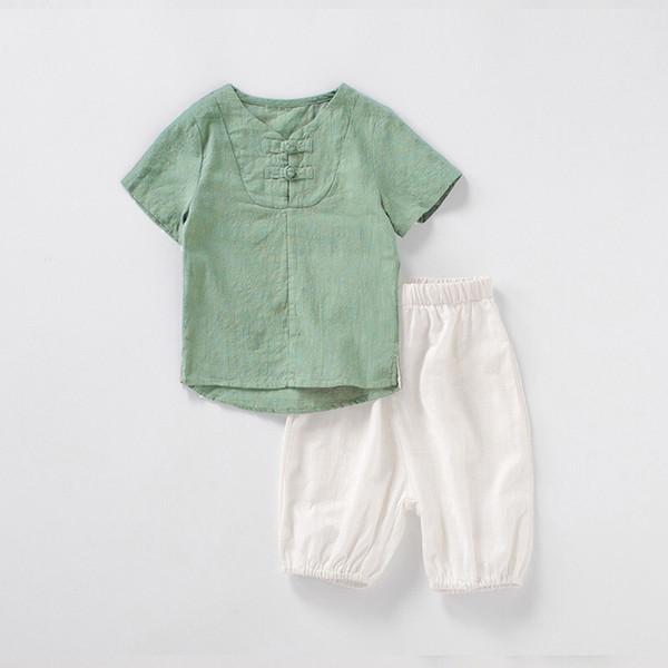 Newest Designs Organic Linen Cotton Kids Boys Suits Summer Short Sleeve T-shirts Front Oblique Buttons Tees + Pants 2pieces Children Set