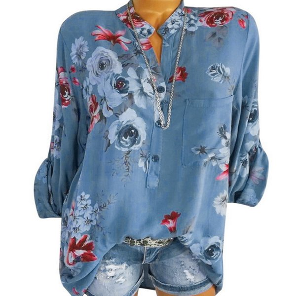 S-5xl 2019 Лето с цветочным принтом Женщины Блузки с V-образным вырезом с принтом Шифон Blusas Сексуальная футболка Повседневная Blusa Женский Плюс Размер