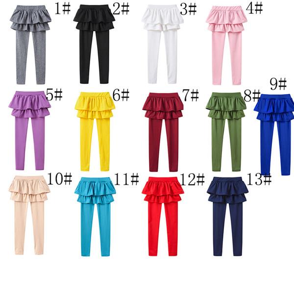 Многоцветный Kid Girl Skirt Брюки Весна сплошной цвет Леггинсы Одежда для девочек Дети Дети Брюки Леггинсы Брюки платье принцессы снизуAA19208