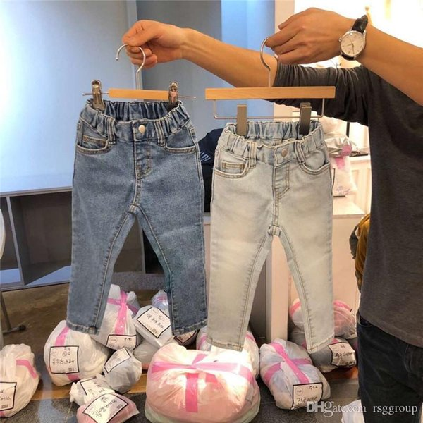 Fall INS New Summer Kids Boys Girls Jeans Trousers Tatting Cotton Fabric Straps Blank Front Pockets Vintage Elastic Waist Children Pants