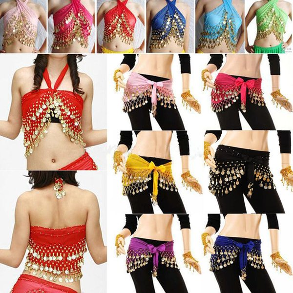 2018 Fashion 3rows Gold Coin Belly Dance Costume Hip Scarf Skirt Belt Dancing Wrap