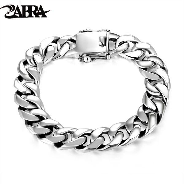 Zabra Luxury 925 Sterling Silver Bracelets Man High Polish Curb Link Chain Bracelet For Men Vintage Punk Rock Biker Mens Jewelry C19021501